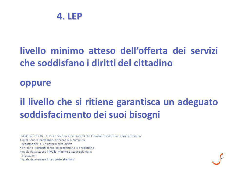4. LEP Individuati i diritti, i LEP definiscono le prestazioni che li possono soddisfare. Ossia precisano: # quali sono le prestazioni afferenti alla