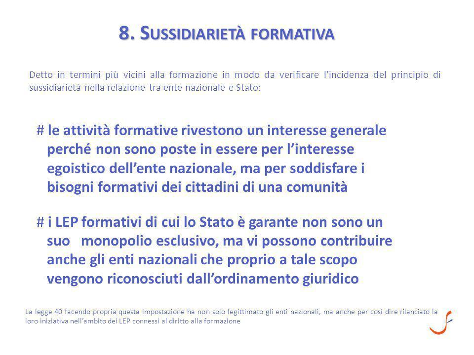8. S USSIDIARIETÀ FORMATIVA Detto in termini più vicini alla formazione in modo da verificare l'incidenza del principio di sussidiarietà nella relazio
