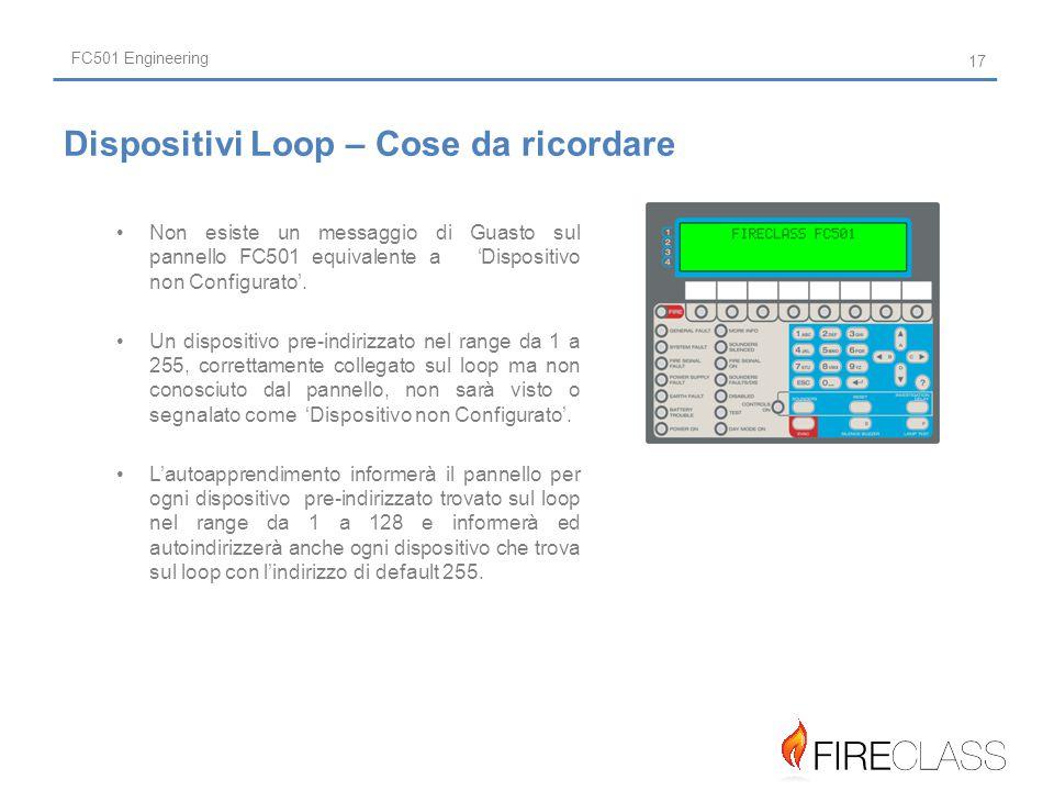 FC501 Engineering Non esiste un messaggio di Guasto sul pannello FC501 equivalente a 'Dispositivo non Configurato'.