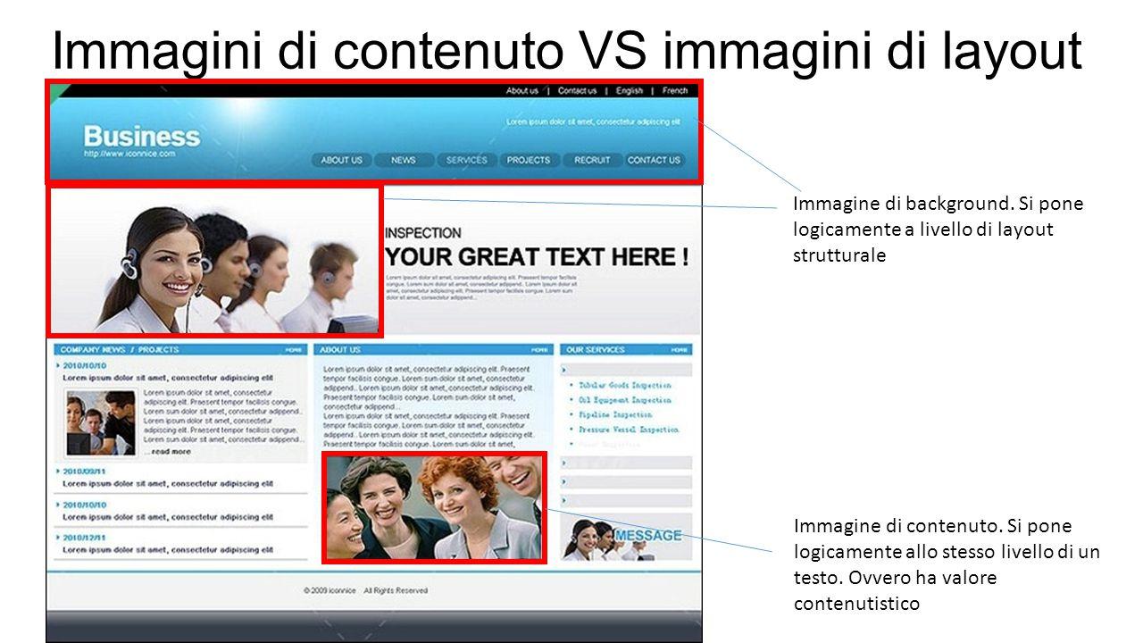 Immagini di contenuto VS immagini di layout Immagine di contenuto. Si pone logicamente allo stesso livello di un testo. Ovvero ha valore contenutistic