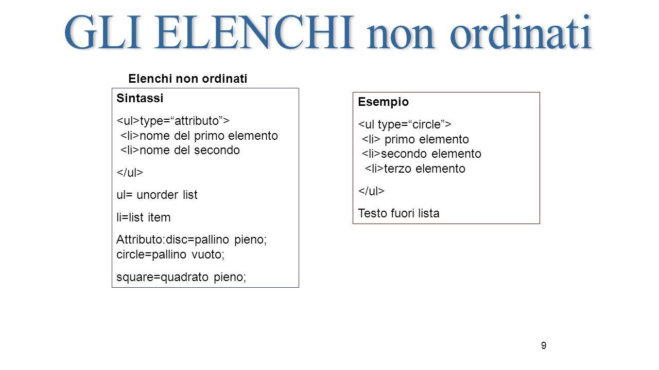 """9 Elenchi non ordinati Sintassi type=""""attributo""""> nome del primo elemento nome del secondo ul= unorder list li=list item Attributo:disc=pallino pieno;"""