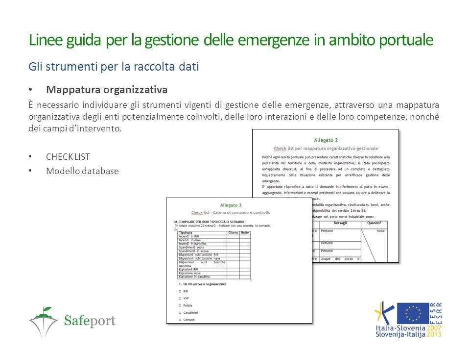 Linee guida per la gestione delle emergenze in ambito portuale Gli strumenti per la raccolta dati Mappatura organizzativa È necessario individuare gli