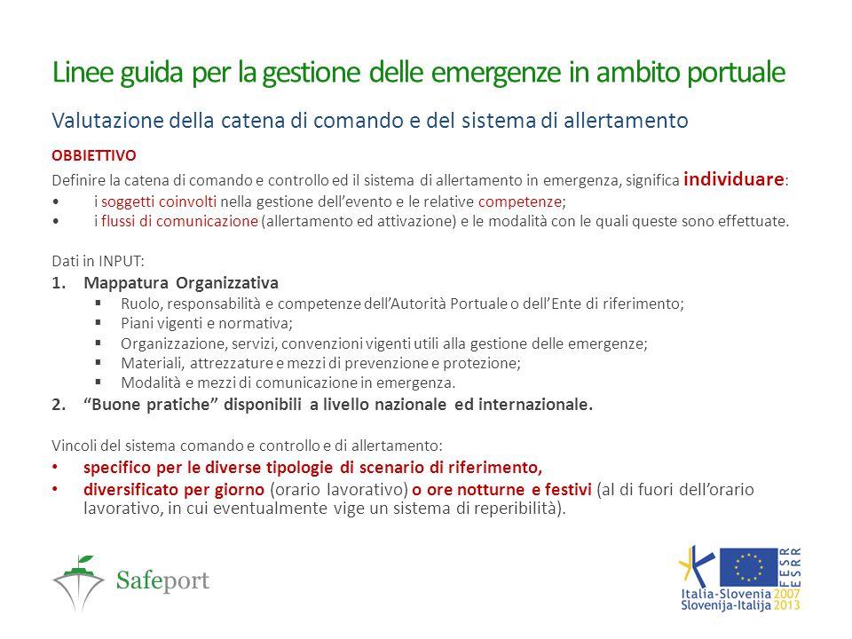 Linee guida per la gestione delle emergenze in ambito portuale Valutazione della catena di comando e del sistema di allertamento OBBIETTIVO Definire l