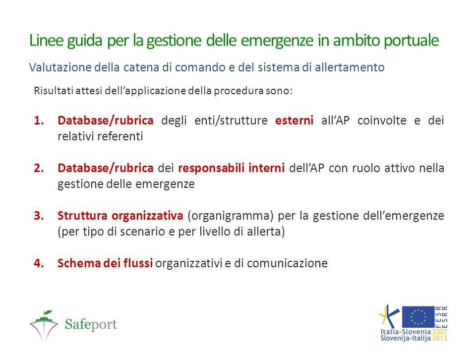 Linee guida per la gestione delle emergenze in ambito portuale Valutazione della catena di comando e del sistema di allertamento Risultati attesi dell