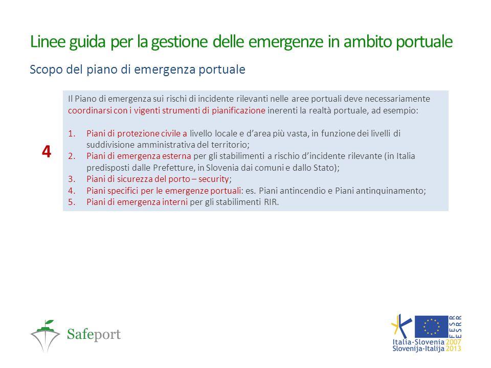 Linee guida per la gestione delle emergenze in ambito portuale Scopo del piano di emergenza portuale Il Piano di emergenza sui rischi di incidente ril