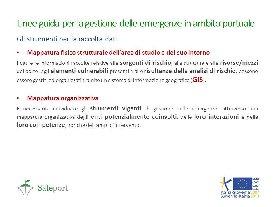 Linee guida per la gestione delle emergenze in ambito portuale Gli strumenti per la raccolta dati Mappatura fisico strutturale dell'area di studio e d