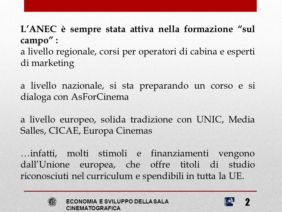 """ECONOMIA E SVILUPPO DELLA SALA CINEMATOGRAFICA 2 L'ANEC è sempre stata attiva nella formazione """"sul campo"""" : a livello regionale, corsi per operatori"""