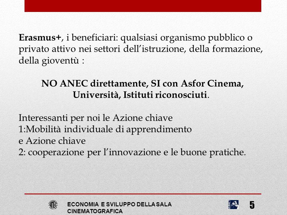 ECONOMIA E SVILUPPO DELLA SALA CINEMATOGRAFICA 5 Erasmus+, i beneficiari: qualsiasi organismo pubblico o privato attivo nei settori dell'istruzione, d