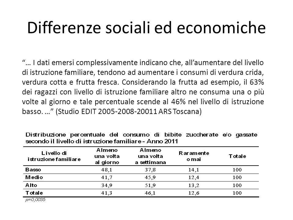 Differenze sociali ed economiche … I dati emersi complessivamente indicano che, all'aumentare del livello di istruzione familiare, tendono ad aumentare i consumi di verdura crida, verdura cotta e frutta fresca.