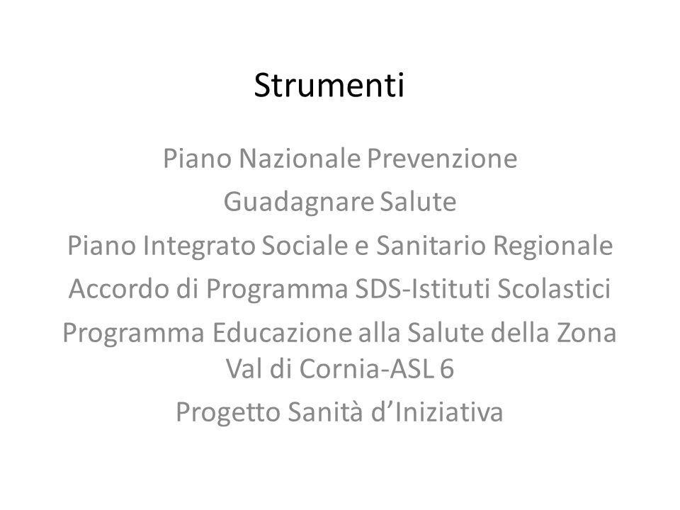 Strumenti Piano Nazionale Prevenzione Guadagnare Salute Piano Integrato Sociale e Sanitario Regionale Accordo di Programma SDS-Istituti Scolastici Programma Educazione alla Salute della Zona Val di Cornia-ASL 6 Progetto Sanità d'Iniziativa