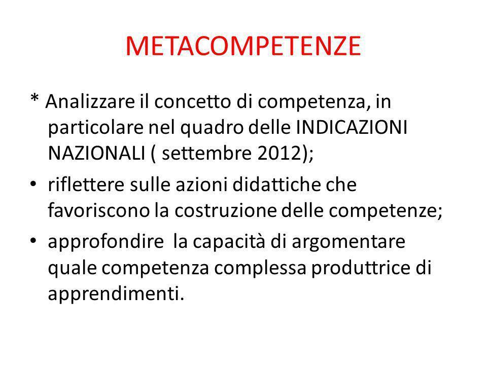 METACOMPETENZE * Analizzare il concetto di competenza, in particolare nel quadro delle INDICAZIONI NAZIONALI ( settembre 2012); riflettere sulle azion