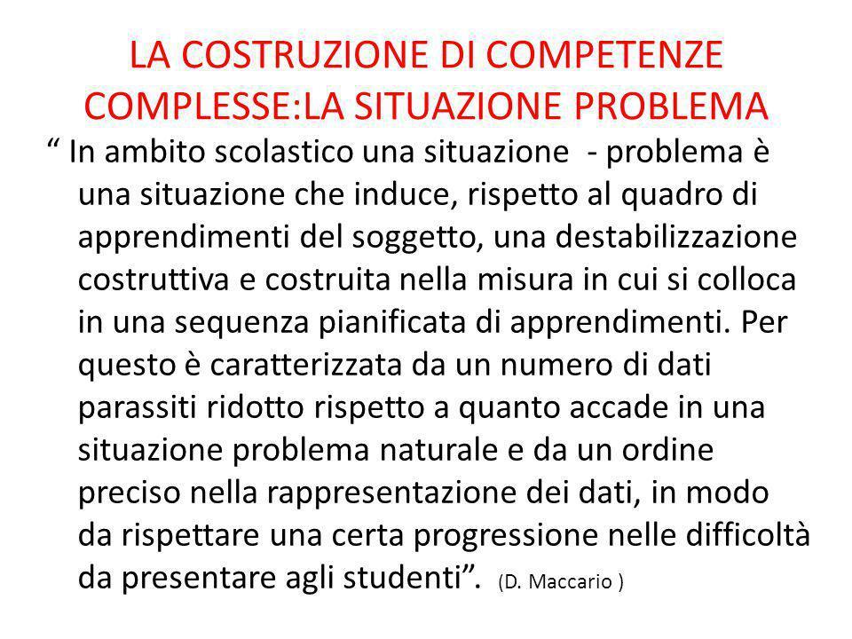 """LA COSTRUZIONE DI COMPETENZE COMPLESSE:LA SITUAZIONE PROBLEMA """" In ambito scolastico una situazione - problema è una situazione che induce, rispetto a"""