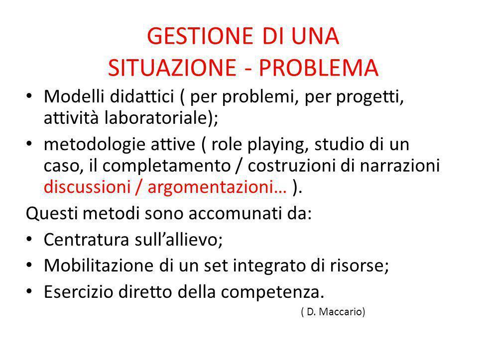 GESTIONE DI UNA SITUAZIONE - PROBLEMA Modelli didattici ( per problemi, per progetti, attività laboratoriale); metodologie attive ( role playing, stud