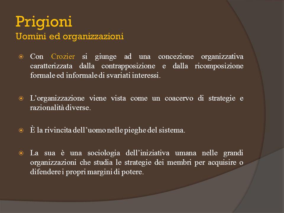  Con Crozier si giunge ad una concezione organizzativa caratterizzata dalla contrapposizione e dalla ricomposizione formale ed informale di svariati