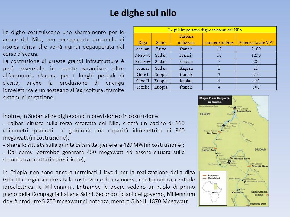 Le dighe sul nilo Le più importanti dighe esistenti del Nilo DigaStato Turbina utilizzatanumero turbinePotenza totale MW AssuanEgittofrancis122100 MeroweSudanFrancis101250 RosieresSudanKaplan7280 SennarSudanKaplan215 Gibe IEtiopiafrancis3210 Gibe IIEtiopiakaplan4420 TezekeEtiopiafrancis4300 Inoltre, in Sudan altre dighe sono in previsione o in costruzione: - Kajbar: situata sulla terza cataratta del Nilo, creerà un bacino di 110 chilometri quadrati e genererà una capacità idroelettrica di 360 megawatt (in costruzione); - Shereik: situata sulla quinta cataratta, genererà 420 MW(in costruzione); - Dal dams: potrebbe generare 450 megawatt ed essere situata sulla seconda cataratta (in previsione); In Etiopia non sono ancora terminati i lavori per la realizzazione della diga Gibe III che già si è iniziata la costruzione di una nuova, mastodontica, centrale idroelettrica: la Millennium.