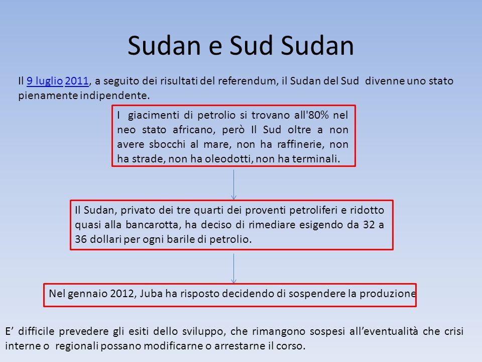 Sudan e Sud Sudan Il 9 luglio 2011, a seguito dei risultati del referendum, il Sudan del Sud divenne uno stato pienamente indipendente.9 luglio2011 I giacimenti di petrolio si trovano all 80% nel neo stato africano, però Il Sud oltre a non avere sbocchi al mare, non ha raffinerie, non ha strade, non ha oleodotti, non ha terminali.
