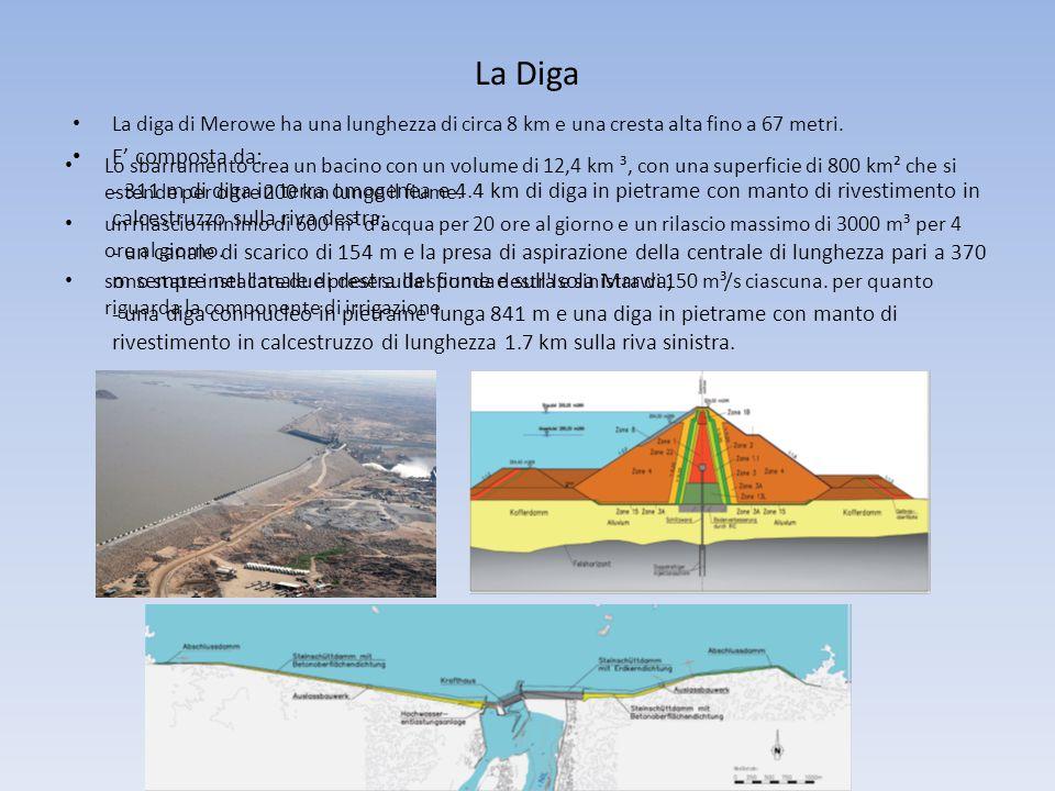 La Diga La diga di Merowe ha una lunghezza di circa 8 km e una cresta alta fino a 67 metri. E' composta da: - 311 m di diga in terra omogenea e 4.4 km