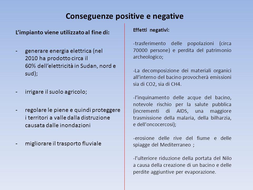 Conseguenze positive e negative L'impianto viene utilizzato al fine di: -generare energia elettrica (nel 2010 ha prodotto circa il 60% dell'elettricit