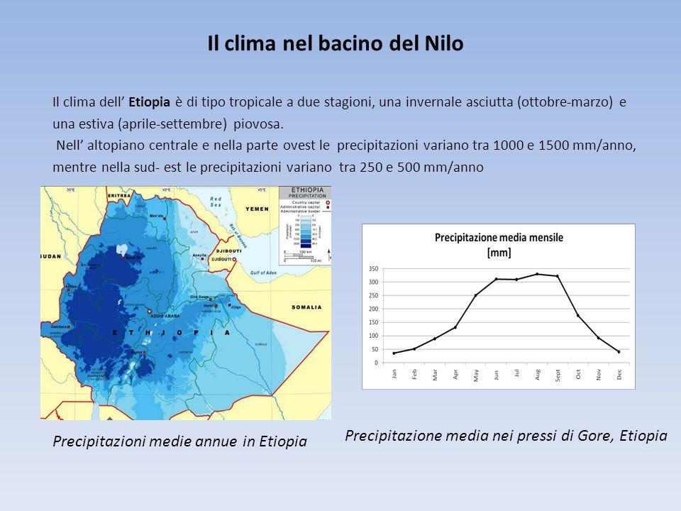 Il clima nel bacino del Nilo Il clima dell' Etiopia è di tipo tropicale a due stagioni, una invernale asciutta (ottobre-marzo) e una estiva (aprile-settembre) piovosa.