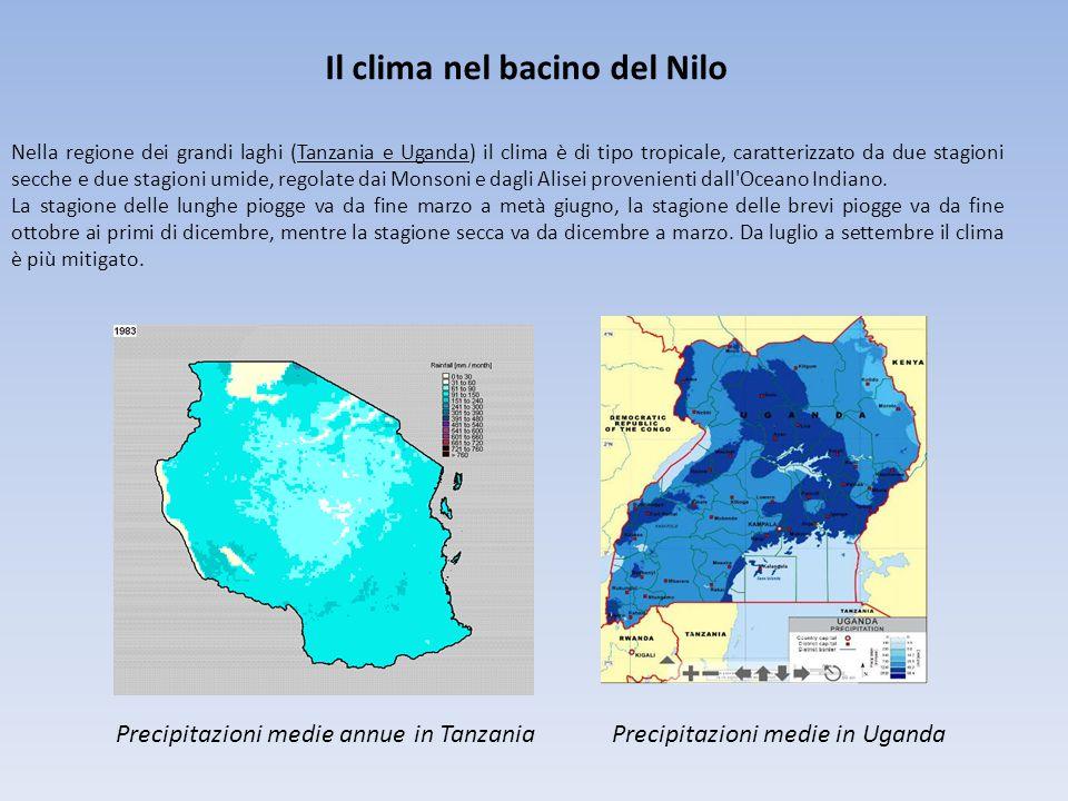 Il clima nel bacino del Nilo Precipitazioni medie annue in TanzaniaPrecipitazioni medie in Uganda Nella regione dei grandi laghi (Tanzania e Uganda) il clima è di tipo tropicale, caratterizzato da due stagioni secche e due stagioni umide, regolate dai Monsoni e dagli Alisei provenienti dall Oceano Indiano.