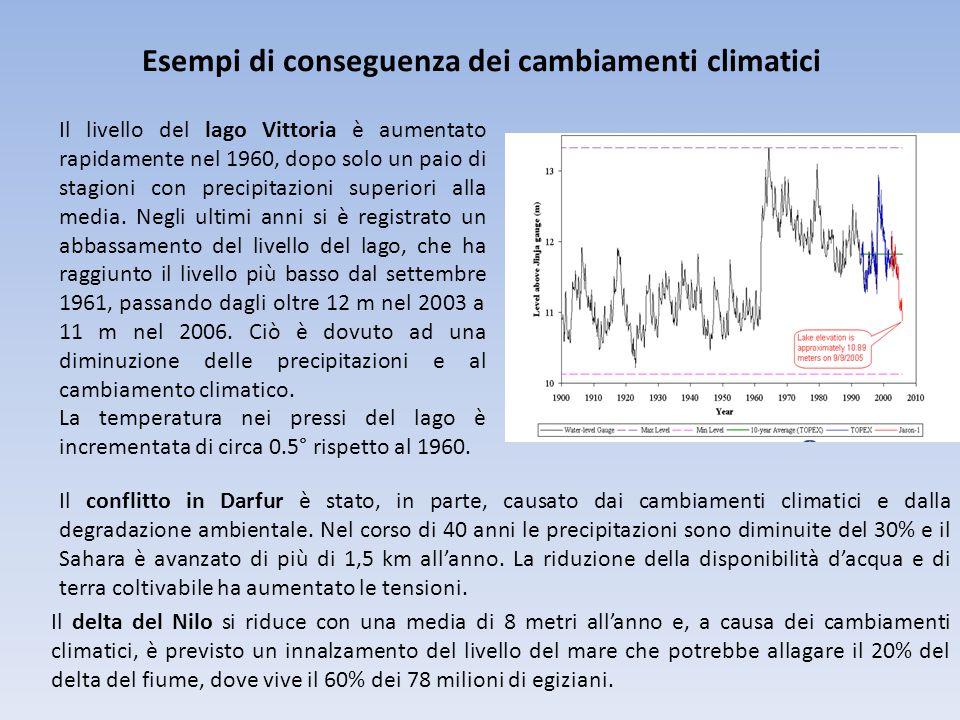 Esempi di conseguenza dei cambiamenti climatici Il livello del lago Vittoria è aumentato rapidamente nel 1960, dopo solo un paio di stagioni con preci