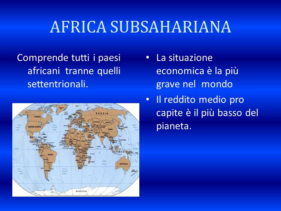 AFRICA SUBSAHARIANA Comprende tutti i paesi africani tranne quelli settentrionali. La situazione economica è la più grave nel mondo Il reddito medio p