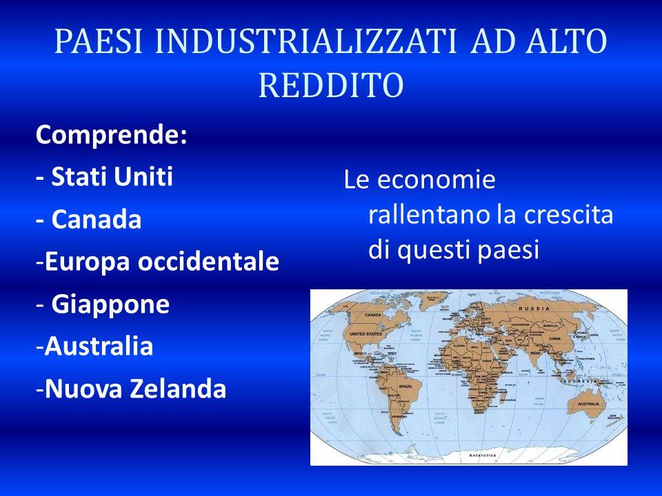 PAESI INDUSTRIALIZZATI AD ALTO REDDITO Comprende: - Stati Uniti - Canada -Europa occidentale - Giappone -Australia -Nuova Zelanda Le economie rallenta