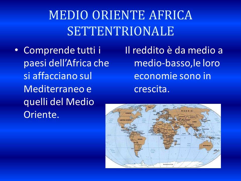 MEDIO ORIENTE AFRICA SETTENTRIONALE Comprende tutti i paesi dell'Africa che si affacciano sul Mediterraneo e quelli del Medio Oriente. Il reddito è da