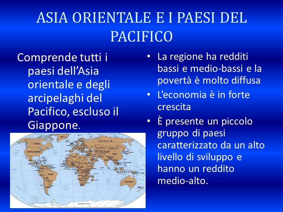 ASIA ORIENTALE E I PAESI DEL PACIFICO Comprende tutti i paesi dell'Asia orientale e degli arcipelaghi del Pacifico, escluso il Giappone. La regione ha