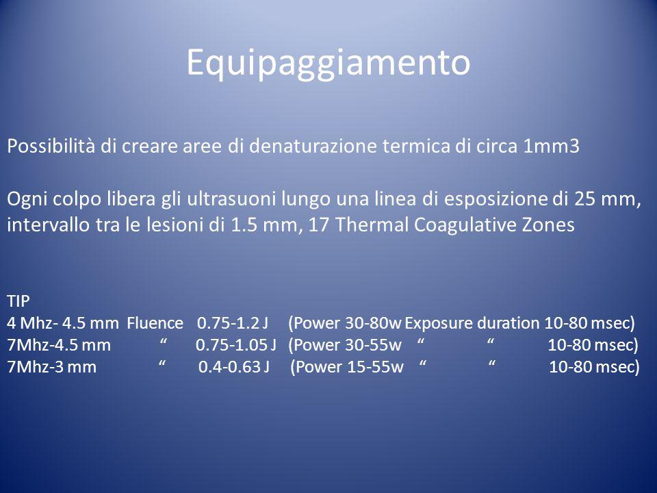 Equipaggiamento Possibilità di creare aree di denaturazione termica di circa 1mm3 Ogni colpo libera gli ultrasuoni lungo una linea di esposizione di 2