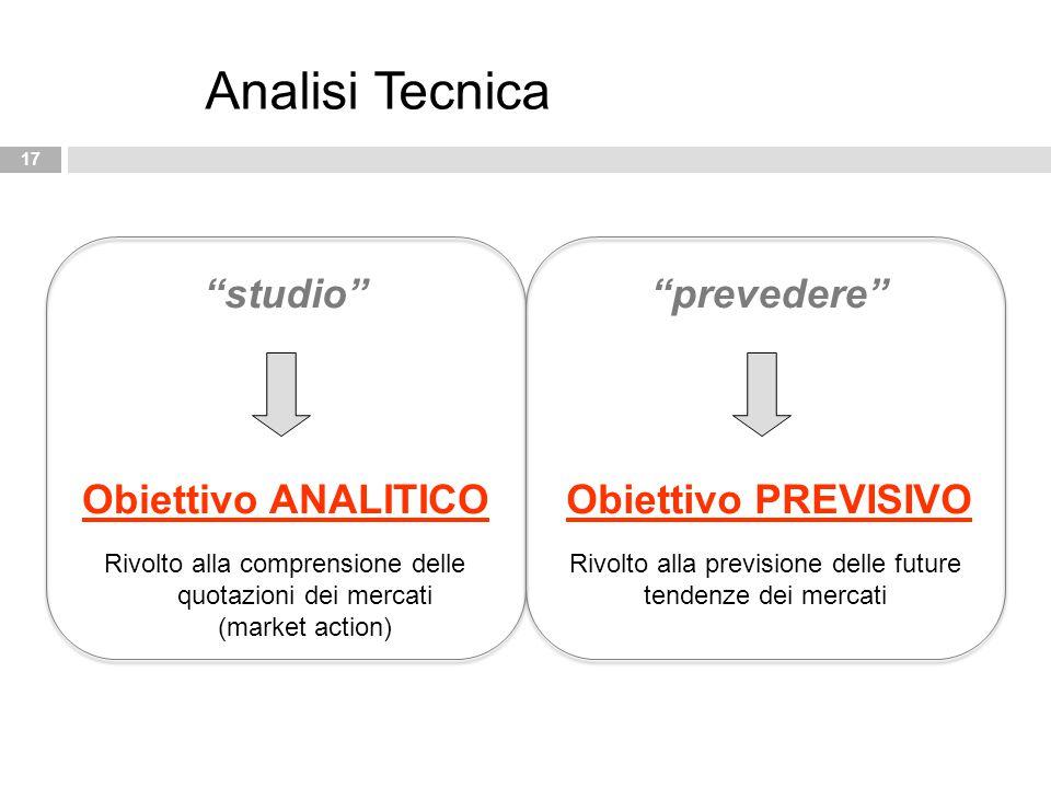 """17 Analisi Tecnica """"studio"""" Obiettivo ANALITICO """"prevedere"""" Obiettivo PREVISIVO Rivolto alla comprensione delle quotazioni dei mercati (market action)"""