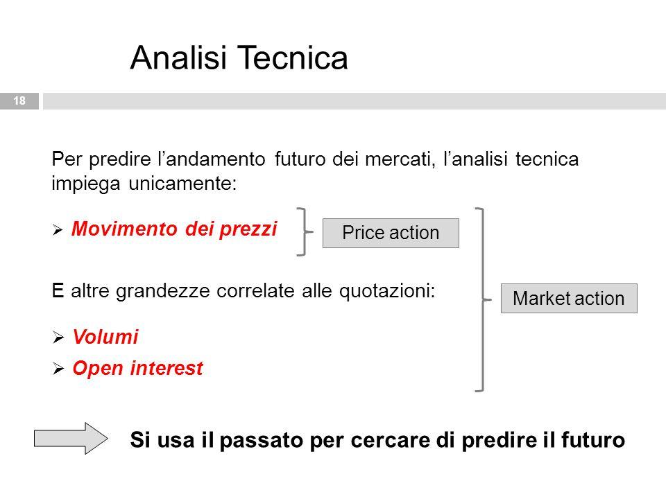 18 Analisi Tecnica Per predire l'andamento futuro dei mercati, l'analisi tecnica impiega unicamente:  Movimento dei prezzi E altre grandezze correlat