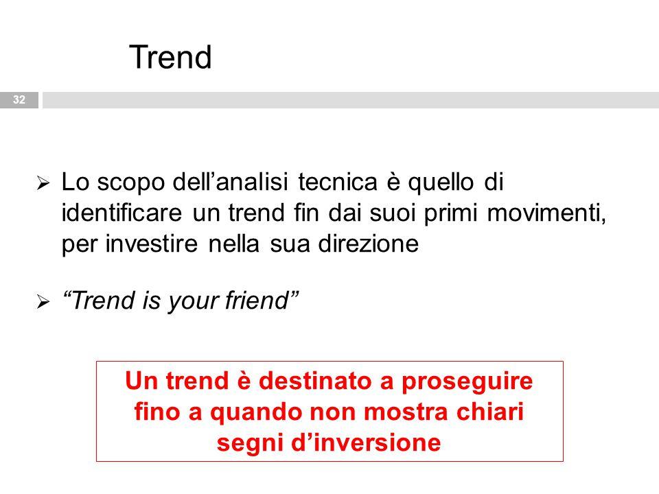 """32 Trend  Lo scopo dell'analisi tecnica è quello di identificare un trend fin dai suoi primi movimenti, per investire nella sua direzione  """"Trend is"""