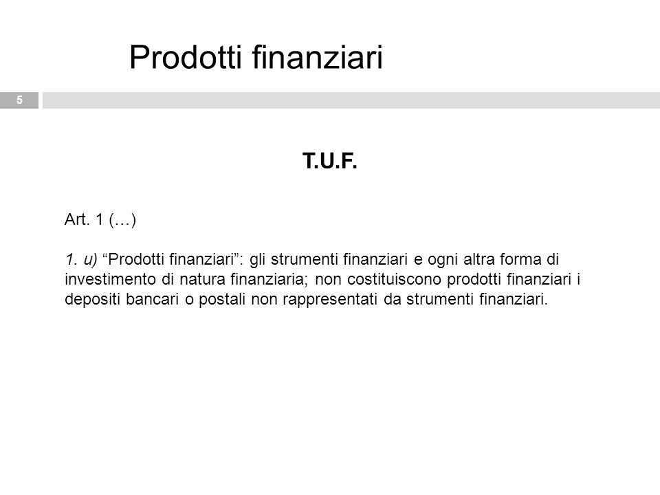 """5 Prodotti finanziari T.U.F. Art. 1 (…) 1. u) """"Prodotti finanziari"""": gli strumenti finanziari e ogni altra forma di investimento di natura finanziaria"""
