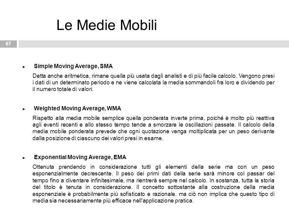 ► Simple Moving Average, SMA Detta anche aritmetica, rimane quella più usata dagli analisti e di più facile calcolo. Vengono presi i dati di un determ