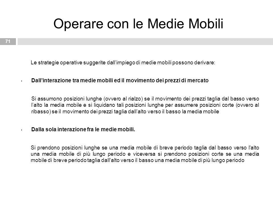 Le strategie operative suggerite dall'impiego di medie mobili possono derivare: Dall'interazione tra medie mobili ed il movimento dei prezzi di mercat