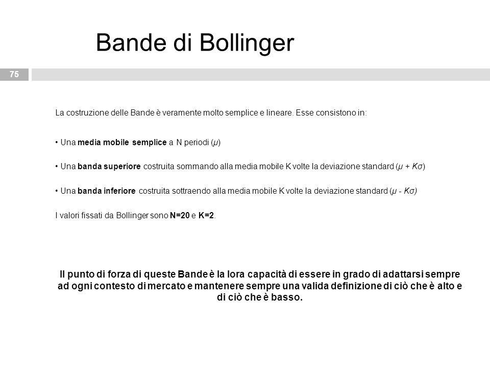 La costruzione delle Bande è veramente molto semplice e lineare. Esse consistono in: Una media mobile semplice a N periodi (μ) Una banda superiore cos