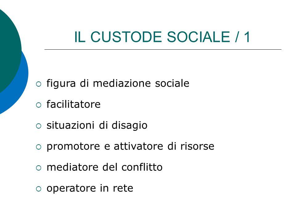IL CUSTODE SOCIALE / 1  figura di mediazione sociale  facilitatore  situazioni di disagio  promotore e attivatore di risorse  mediatore del confl