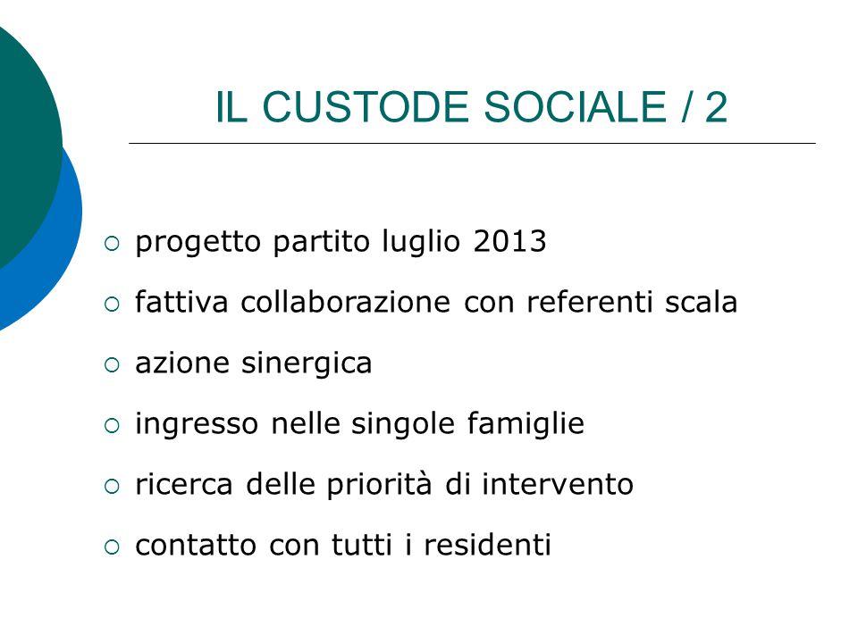 IL CUSTODE SOCIALE / 2  progetto partito luglio 2013  fattiva collaborazione con referenti scala  azione sinergica  ingresso nelle singole famigli
