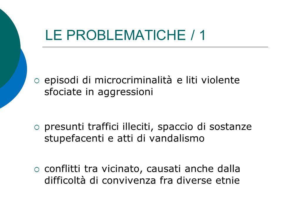 LE PROBLEMATICHE / 1  presunti traffici illeciti, spaccio di sostanze stupefacenti e atti di vandalismo  conflitti tra vicinato, causati anche dalla