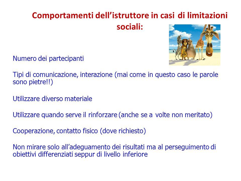 Comportamenti dell'istruttore in casi sociali: di limitazioni Numero dei partecipanti Tipi di comunicazione, interazione (mai come sono pietre!!) inqu