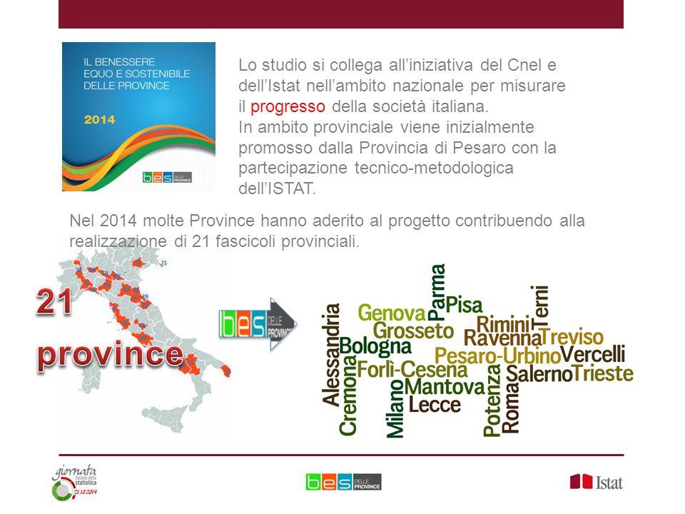 Lo studio si collega all'iniziativa del Cnel e dell'Istat nell'ambito nazionale per misurare il progresso della società italiana.