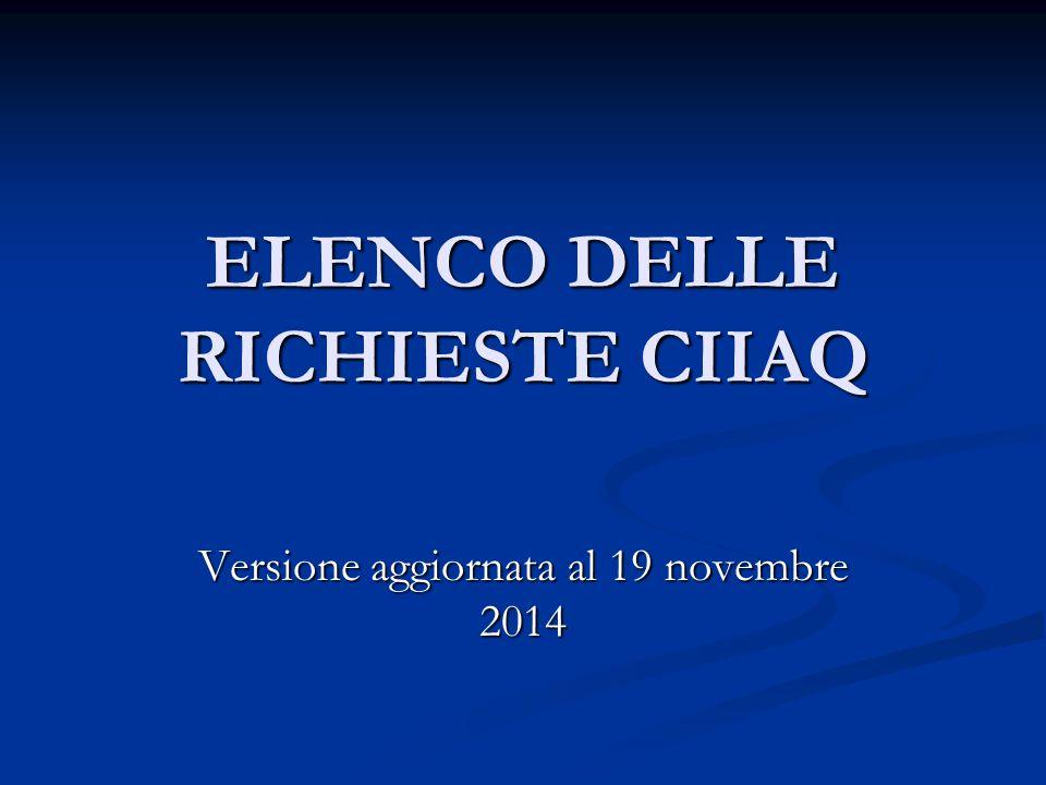 ELENCO DELLE RICHIESTE CIIAQ Versione aggiornata al 19 novembre 2014