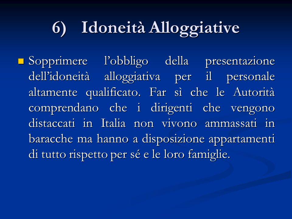 6)Idoneità Alloggiative Sopprimere l'obbligo della presentazione dell'idoneità alloggiativa per il personale altamente qualificato.
