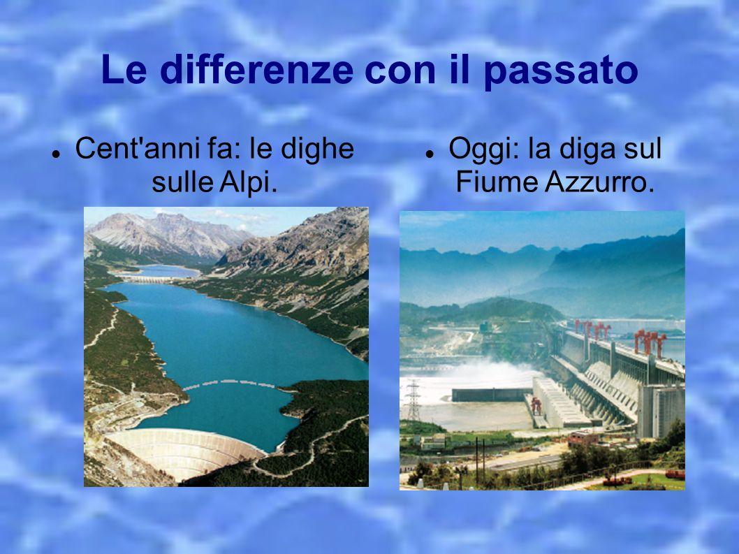 Le differenze con il passato Cent'anni fa: le dighe sulle Alpi. Oggi: la diga sul Fiume Azzurro.