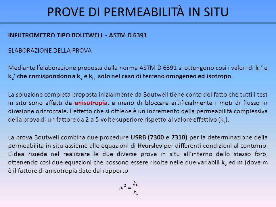 PROVE DI PERMEABILITÀ IN SITU Mediante l'elaborazione proposta dalla norma ASTM D 6391 si ottengono così i valori di k 1 ' e k 2 ' che corrispondono a