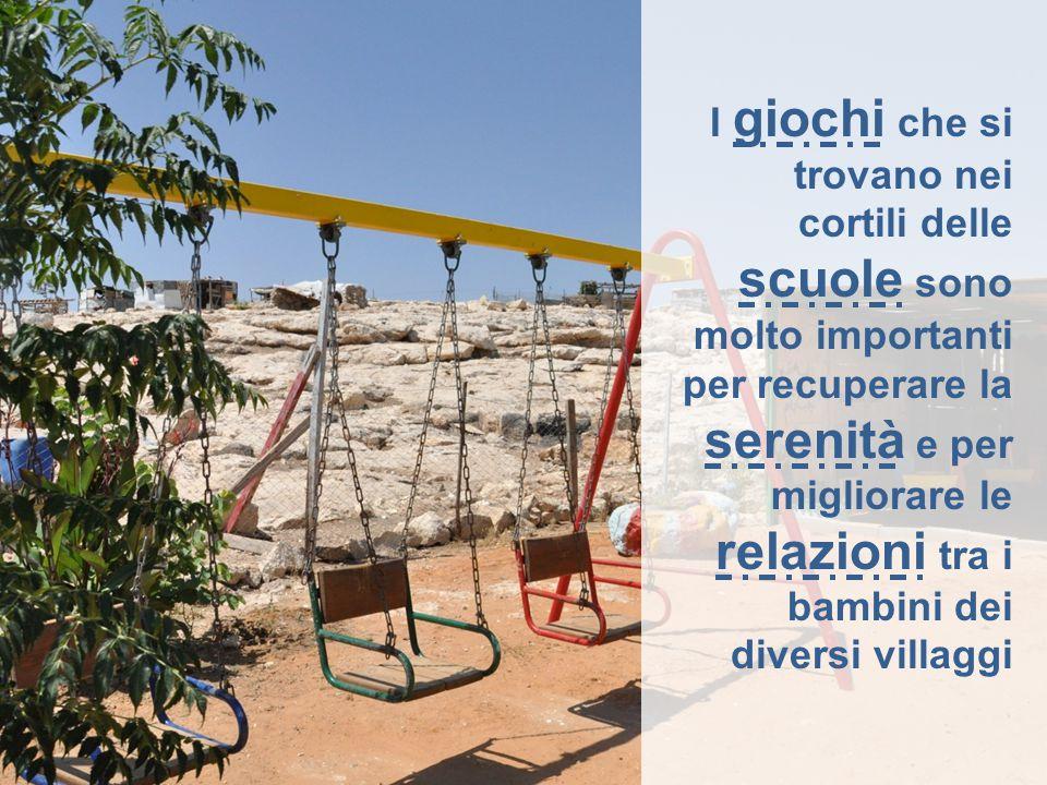 I giochi che si trovano nei cortili delle scuole sono molto importanti per recuperare la serenità e per migliorare le relazioni tra i bambini dei diversi villaggi