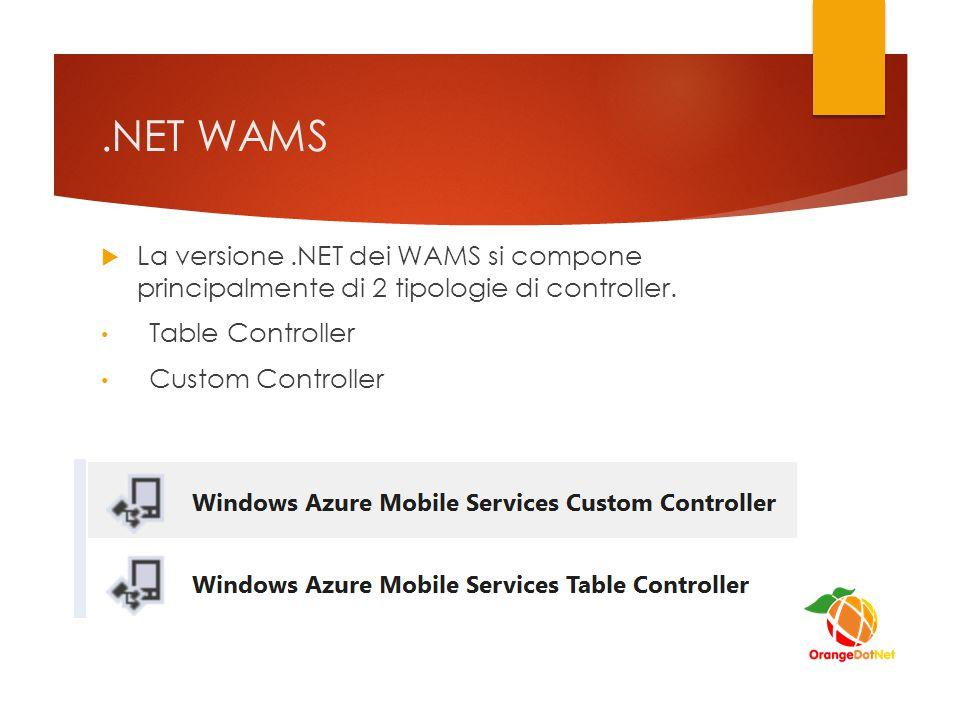 .NET WAMS  La versione.NET dei WAMS si compone principalmente di 2 tipologie di controller.