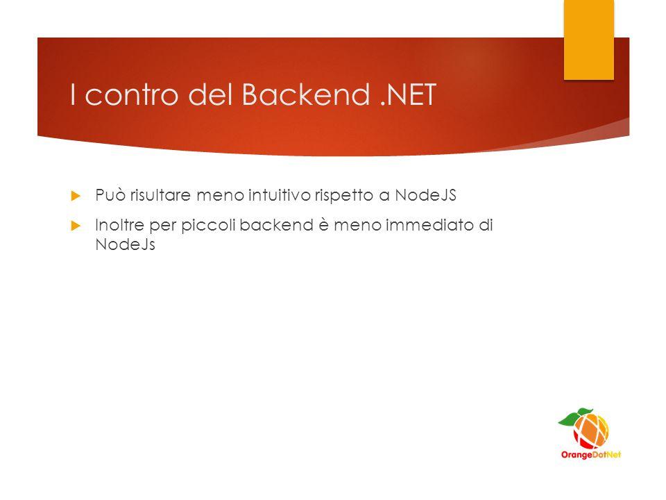 I contro del Backend.NET  Può risultare meno intuitivo rispetto a NodeJS  Inoltre per piccoli backend è meno immediato di NodeJs