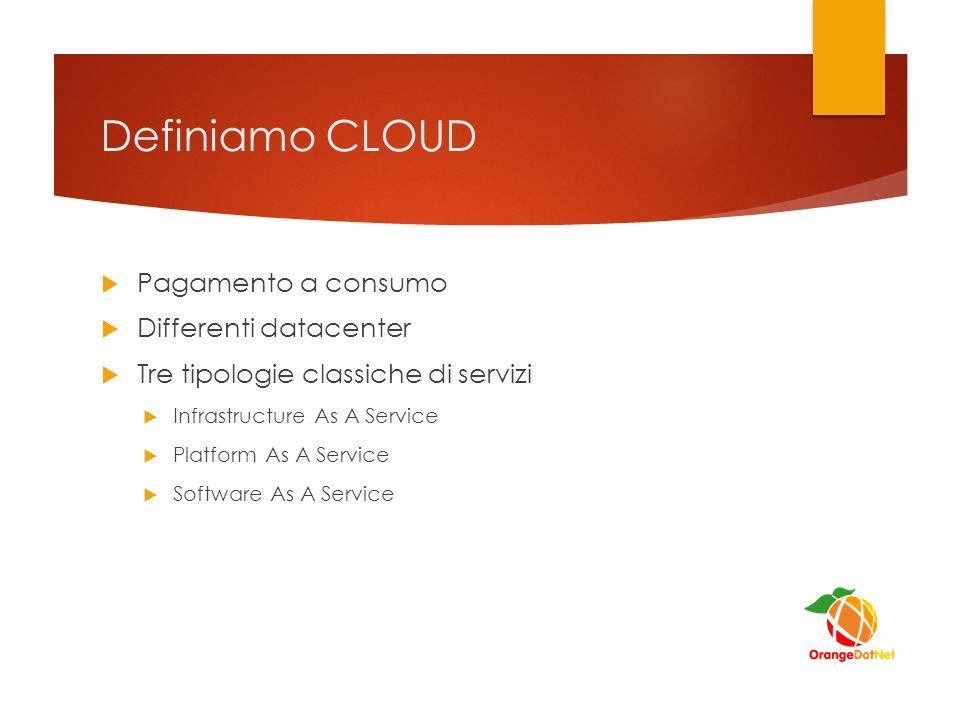 Definiamo CLOUD  Pagamento a consumo  Differenti datacenter  Tre tipologie classiche di servizi  Infrastructure As A Service  Platform As A Service  Software As A Service